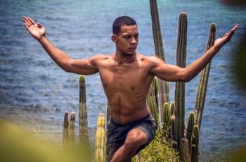 Hatha yoga sur la plage
